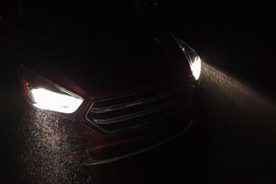 Car with headlights on