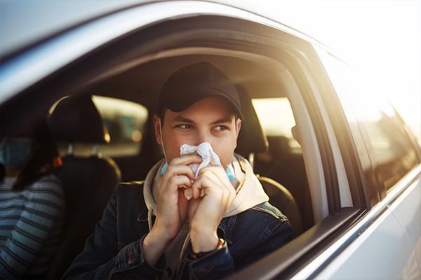 Driver sneezing